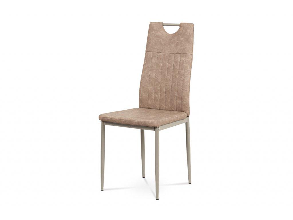 Jídelní židle, lanýžová ekokůže, kov cappuccino lesk