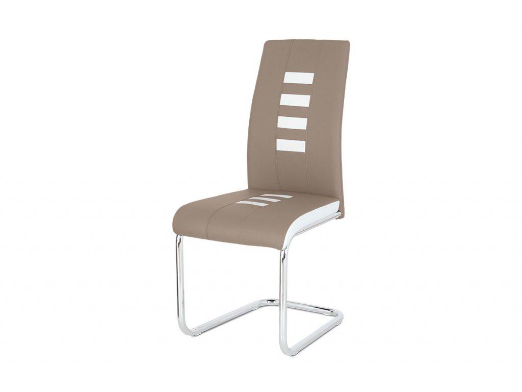 Jídelní židle, potah kombinace cappuccino a bílé ekokůže, kovová pohupová podnož