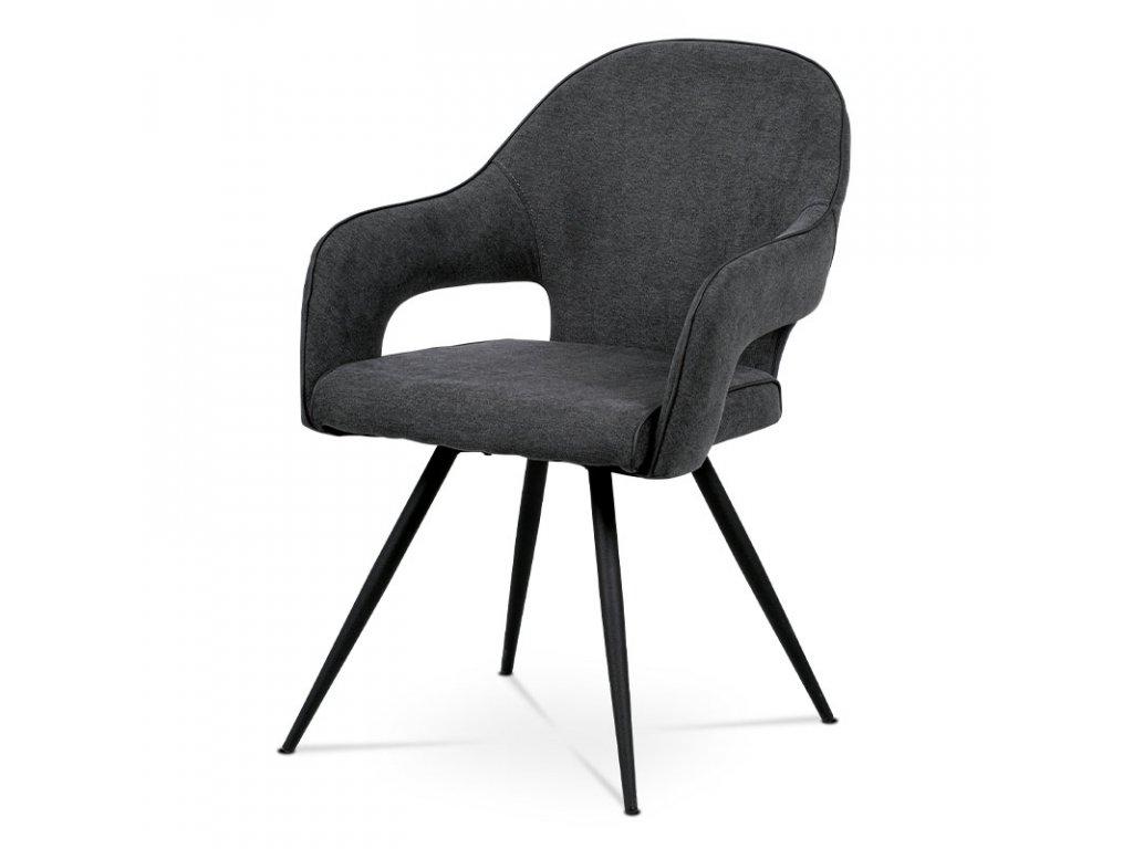 Jídelní židle, šedá látka, kovová podnož, černý matný lak