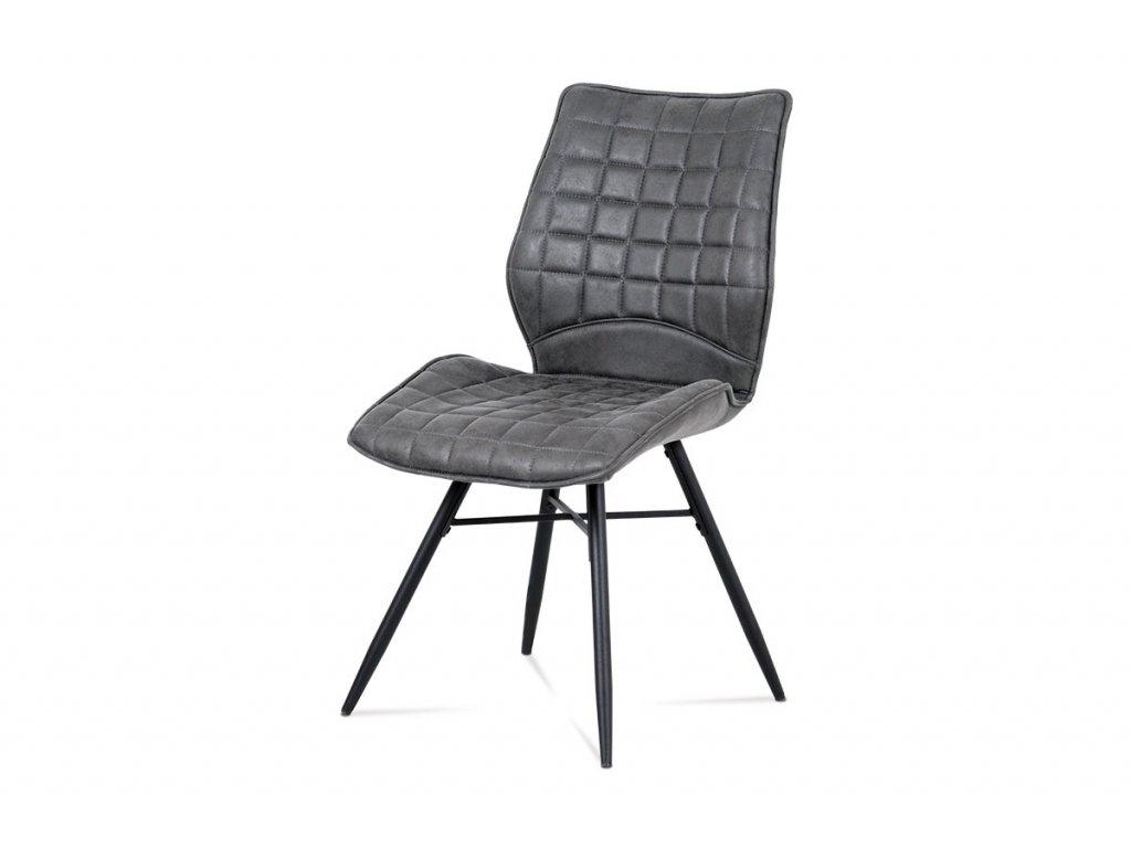 Jídelní židle, šedá látka vintage, kov černý mat