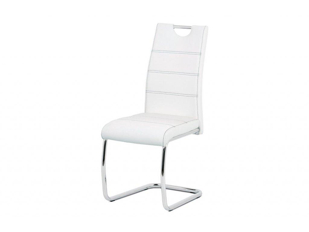 Jídelní židle, potah bílá ekokůže, černé prošití, kovová pohupová podnož, chrom