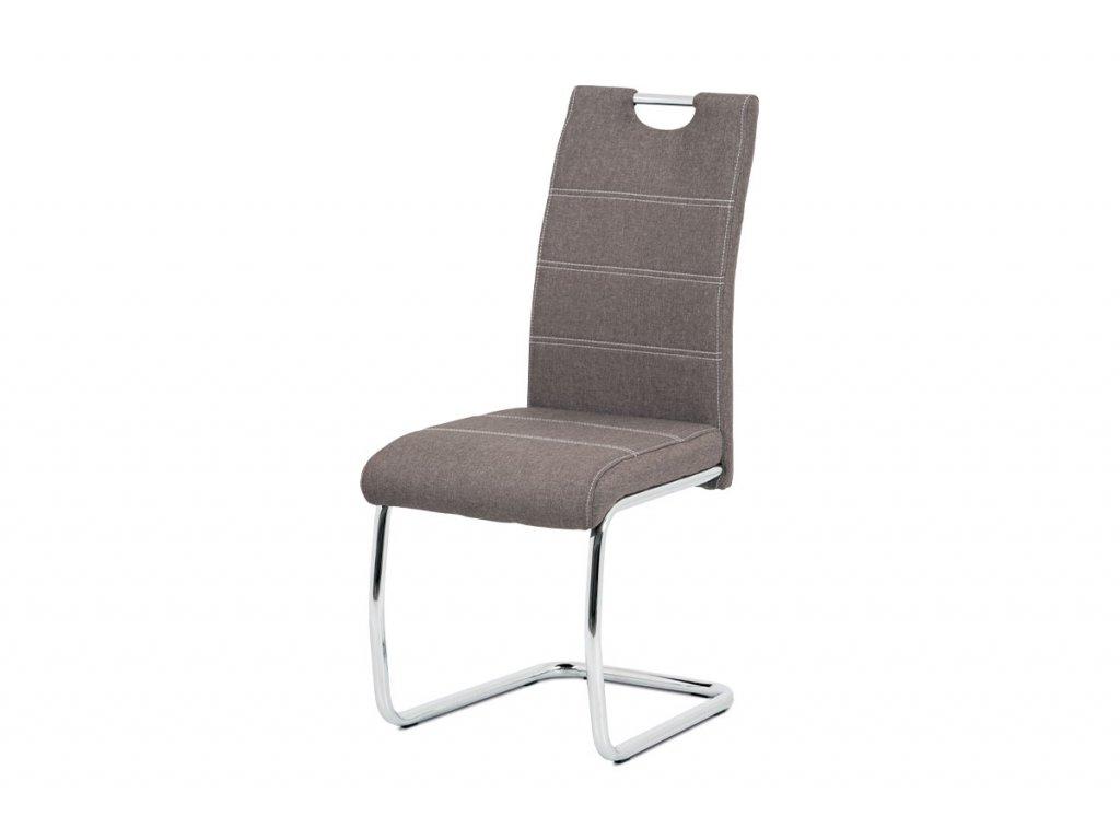 Jídelní židle, potah coffee látka, bílé prošití, kovová chromovaná pohupová podn
