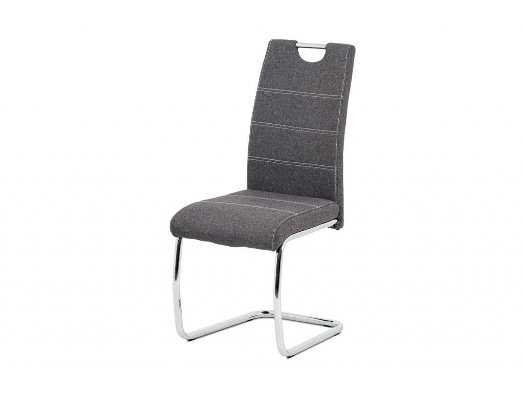 Jídelní židle, potah šedá látka, bílé prošití, kovová chromovaná pohupová podnož