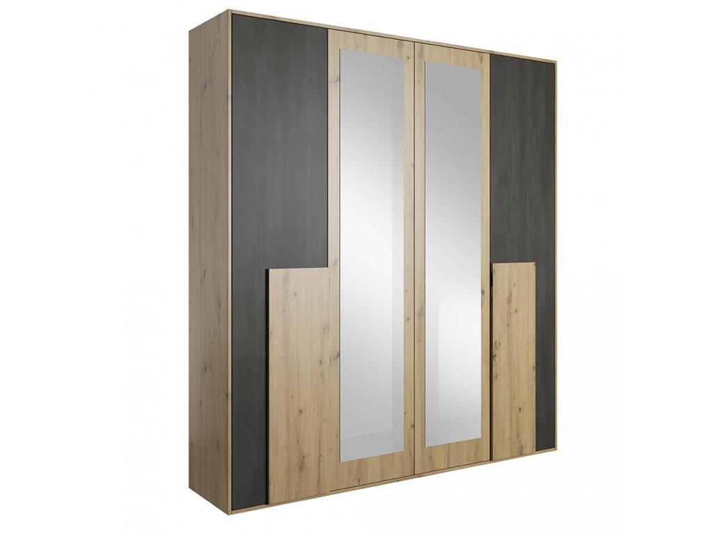 Kondela Skříň se zrcadlem, dub artisan/černá borovice norská, BAFRA 4D