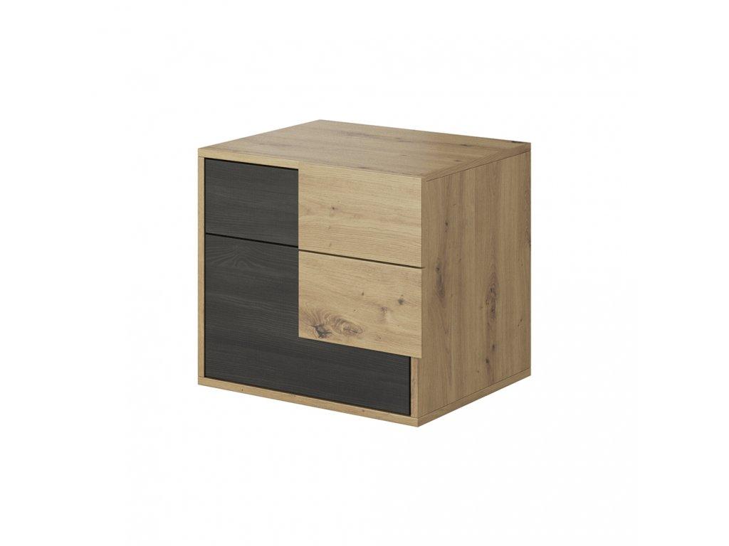 Kondela Noční stolek, dub artisan/černá borovice norská, BAFRA