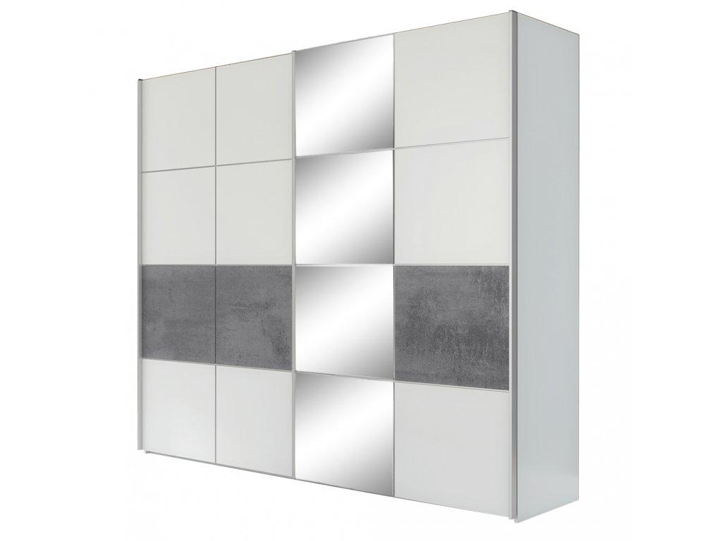 Kondela Skříň s posuvnými dveřmi, šedá / matná bílá, PUNO