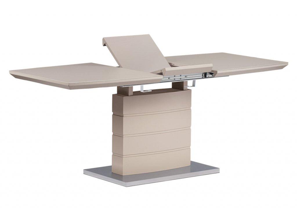 Rozkládací jídelní stůl 140+40x80x76 cm, cappuccino sklo, cappuccino matný lak,
