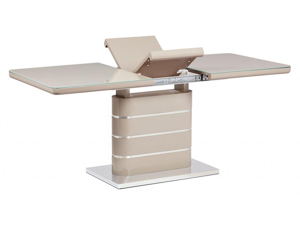 Jídelní stůl 140+40x80 cm, vysoký lesk cappuccino, sklo cappuccino, broušený ner