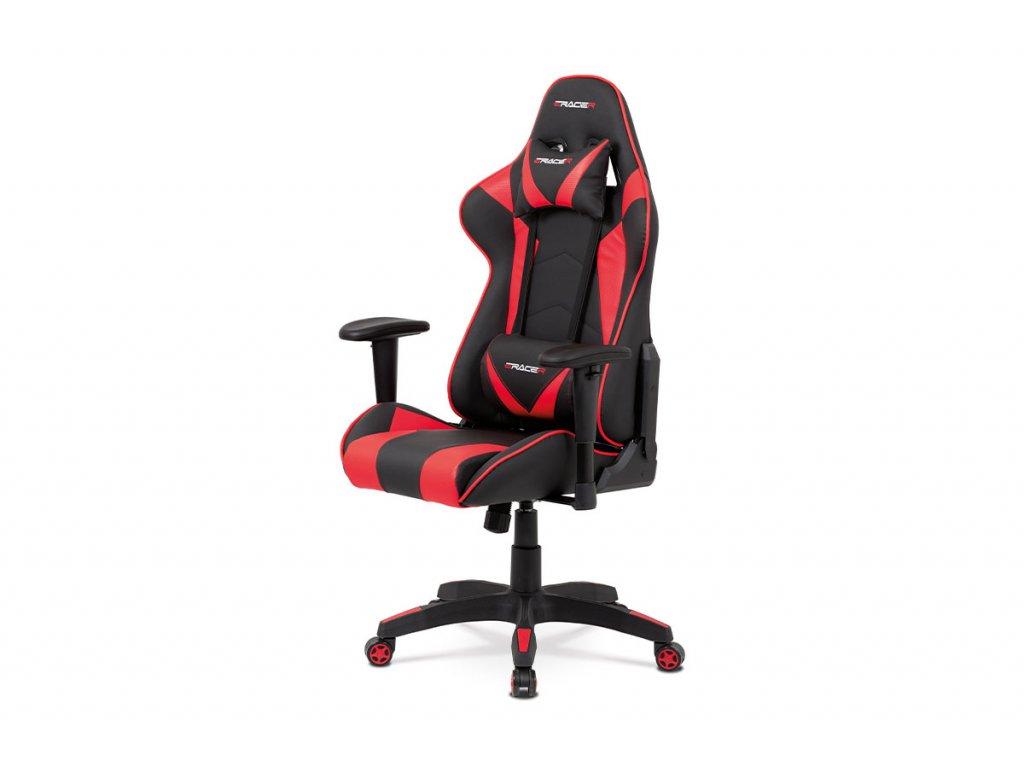 Kancelářská židle houpací mech., černá + červená koženka, plast. kříž