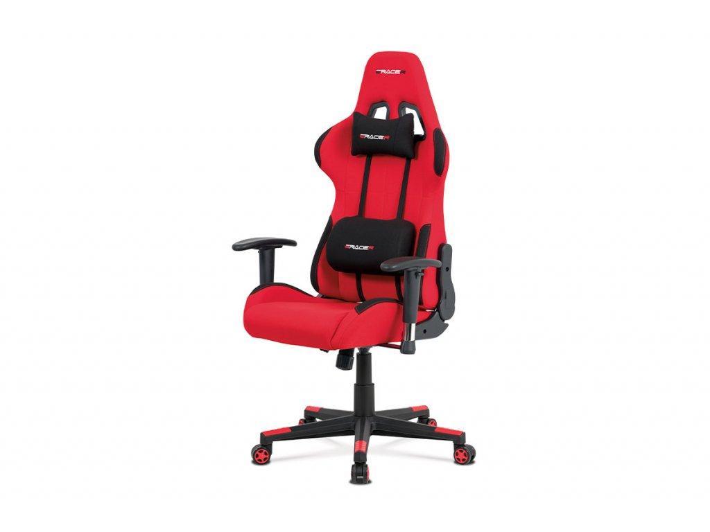 Kancelářská židle, červená látka, houpací mech., plastový kříž