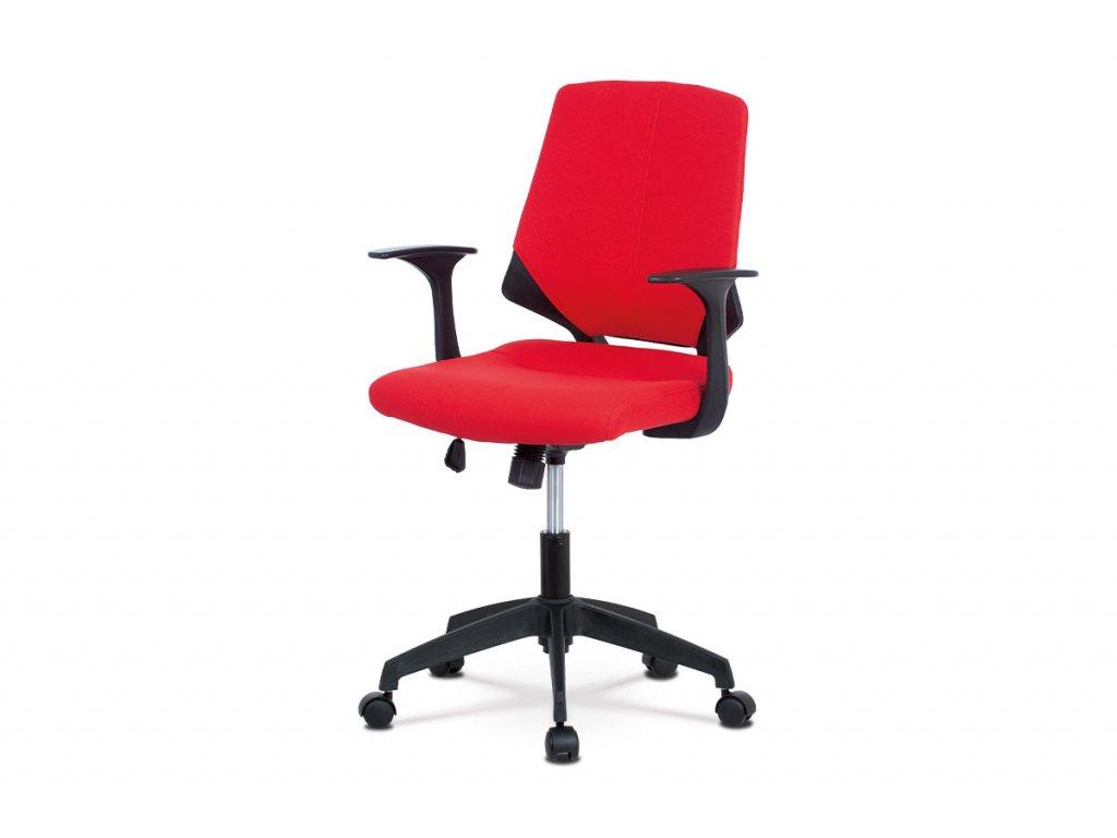 Juniorská kancelářská židle, potah červená látka, černý plast, houpací mechanism