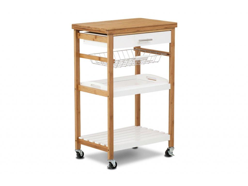 Servírovací stolek / regál policový na kolečkách, masiv bambus, přírodní odstín a lak, MDF - bílý lak