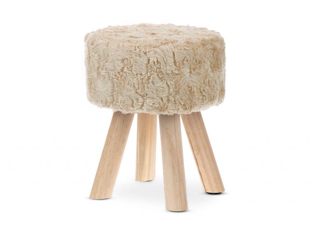 Taburet, potah krémová umělá kožešina ECRU, masivní nohy z kaučukovníku v přírod