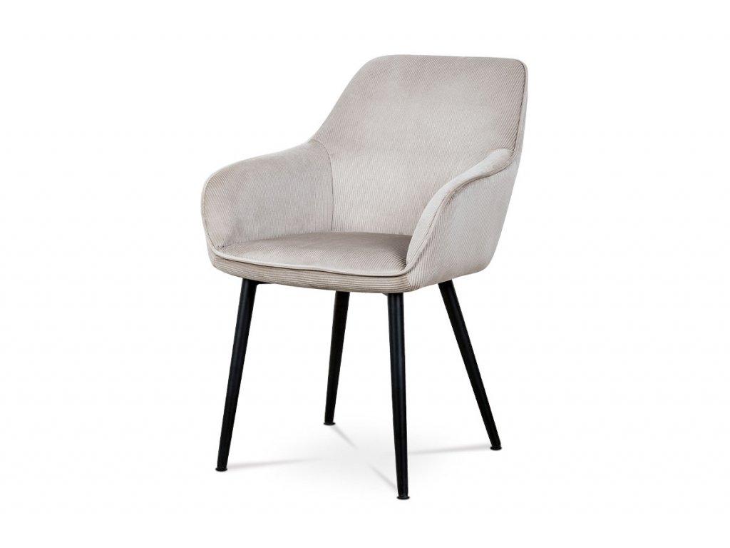 Jídelní a konferenční židle, potah lanýžová manšestrová látka, kovové nohy - čer