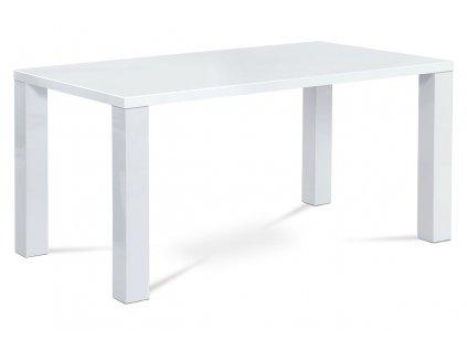 Jídelní stůl 160x90x76 cm, vysoký lesk bílý