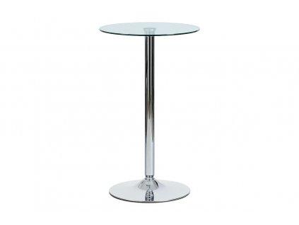 Barový stůl čiré sklo / chrom, pr. 60 cm