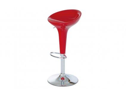 Barová židle, červený plast, chromová podnož, výškově nastavitelná