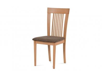 Jídelní židle, masiv buk, barva buk, látkový hnědý potah