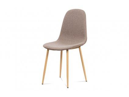 Jídelní židle, cappuccino látka-ekokůže, kov dub