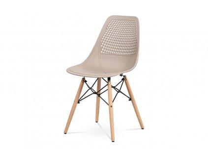 Jídelní židle - cappuccino plast, masiv buk, přírodní odstín, kov černý matný la