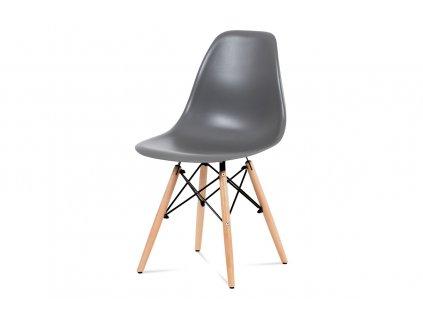 Jídelní židle, plast šedý / masiv buk / kov černý