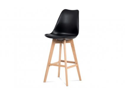 Barová židle, černý plast+ekokůže, nohy masiv buk