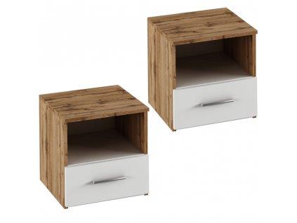 Kondela Noční stolek, 2 ks, dub Wotan / bílá, GABRIELA