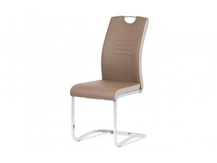 Jídelní židle chrom / koženka coffee + cappucino boky