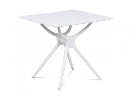 Jídelní stůl 80x80, bílá MDF, plast bílý