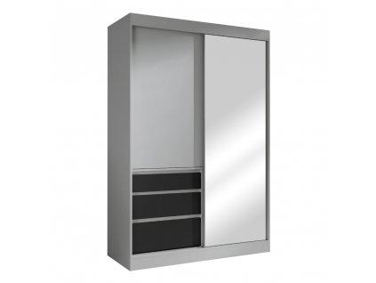 Kondela Skříň s posuvnými dveřmi, šedá/černá, 140, ROMUALDA