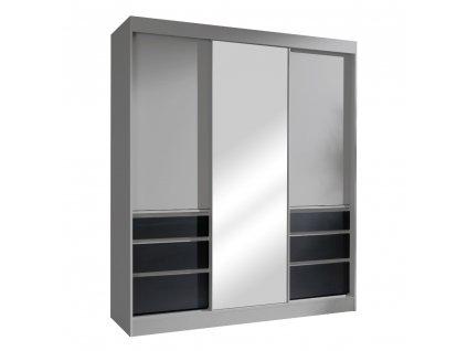 Kondela Skříň s posuvnými dveřmi, šedá/černá, 180, ROMUALDA