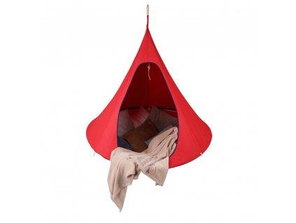 Kondela Závěsné houpací křeslo, červená, KLORIN NEW KLASIK CACOON HAMMOCK