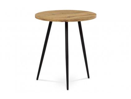 Přístavný stolek, MDF, dekor divoký dub, kov, černý lak