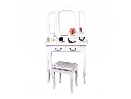 Kondela Toaletní stolek s taburetem, bílá/stříbrná, REGINA NEW