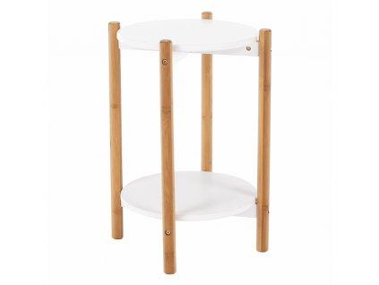 Kondela Příruční / noční stolek, bílá / přírodní, BAMP