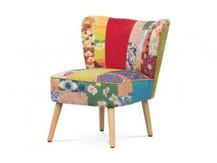 Francouzské křeslo, potah látka patchwork, dřevěné nohy, masiv kaučukovník