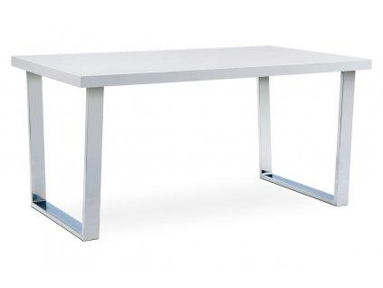 Jídelní stůl 150x90 cm, MDF deska, bílý vysoký lesk, chromovaná podnož