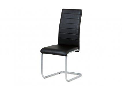Jídelní židle, koženka černá / šedý lak