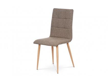 Jídelní židle, šedohnědá látka, kov dekor buk