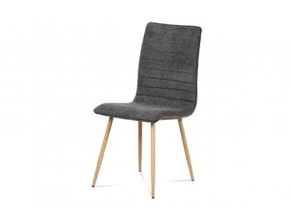 Jídelní židle, šedá látka, kovová 4 nohá podnož, 3D dekor dub