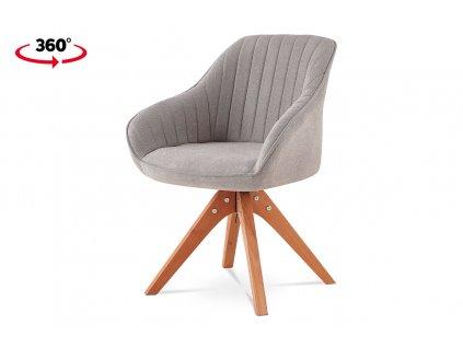 Jídelní a konferenční židle, potah latté látka, nohy masivní buk v tmavším přírodním odstínu, otočná o 360°