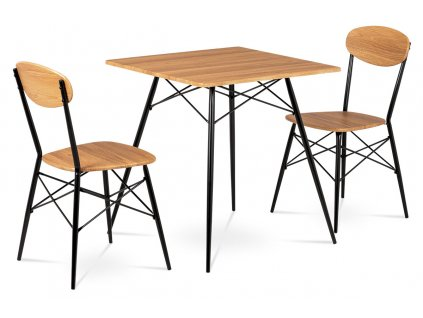 Jídelní set (1+2), MDF dekor medový dub, kovové čtyřnohé podnože, černý matný la