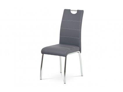Jídelní židle, potah šedá ekokůže, bílé prošití, kovová čtyřnohá chromovaná podn