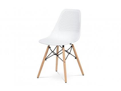 Jídelní židle - bílý plast, masiv buk, přírodní odstín, kov černý matný lak