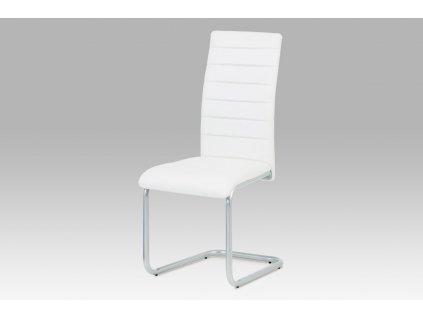 Jídelní židle, koženka bílá / šedý lak