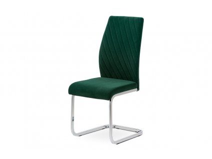 Jídelní židle, zelená sametová látka, kovová pohupová chromovaná podnož