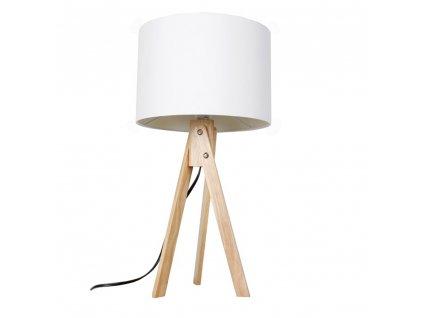 Kondela Stolní lampa, bílá / přírodní dřevo, LILA TYP 1