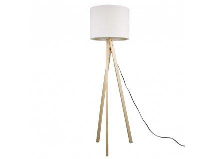 Kondela Stojací lampa, bílá / přírodní dřevo, LILA TYP 6