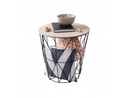 Kondela Příruční stolek, přírodní/černá, NANCER TYP 3