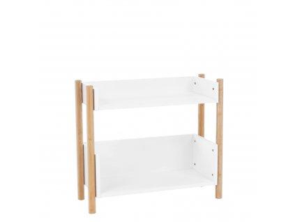 Kondela 2-poličkový regál, přírodní bambus/bílá, BALTIKA TYP 1